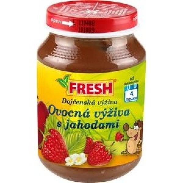 """Detská výživa jahodová """"Fresh"""" 190g, od 4 mesiacov."""