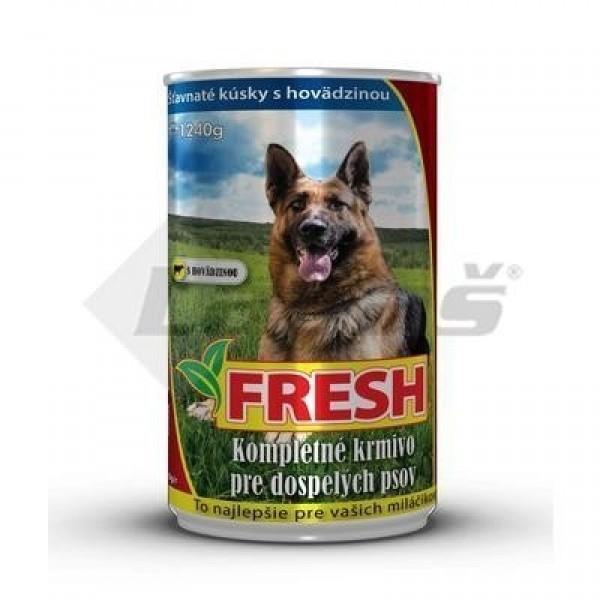 """Konzerva pre psov s hovädzím mäsom """"FRESH"""" 1240g"""