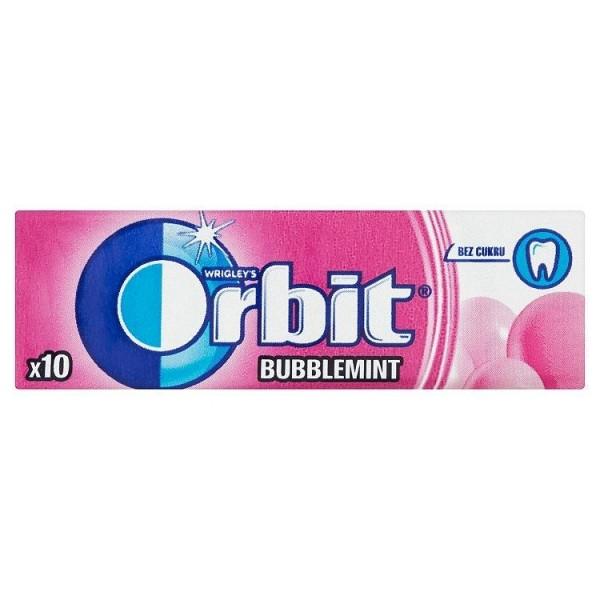 Wrigley's Orbit Bubblemint žuvačka bez cukru s ovocnou a mätovou príchuťou 10 ks 14 g