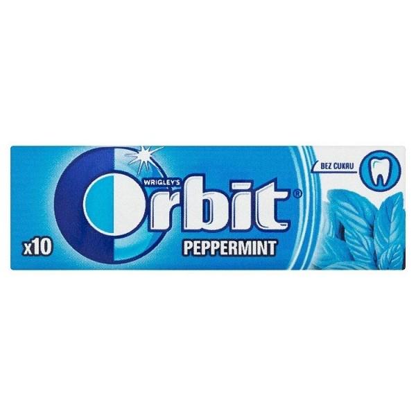 Wrigley's Orbit Peppermint žuvačka bez cukru s mätovou príchuťou 10 ks 14 g