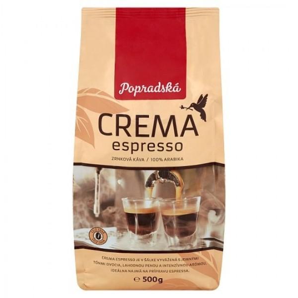 Popradská Crema Espresso zrnková káva 500 g