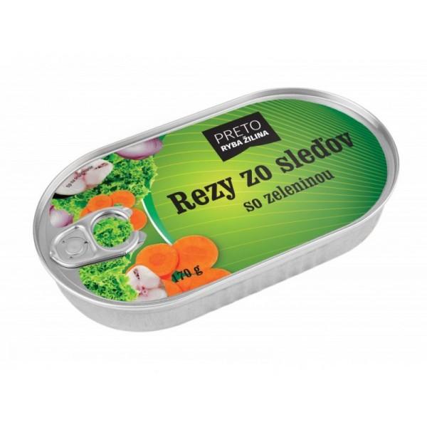 Rezy zo sleďov so zeleninou, 170 g PRETO