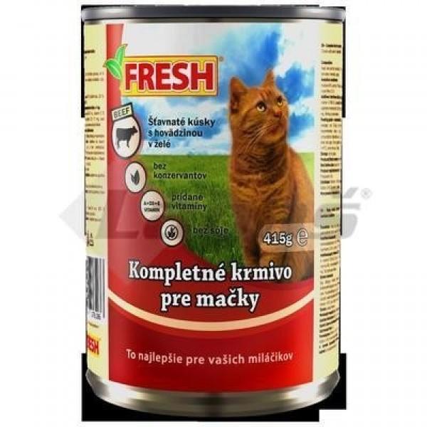"""Krmivo pre mačky s hovädzím mäsom """"FRESH"""" 415g/konzerva"""