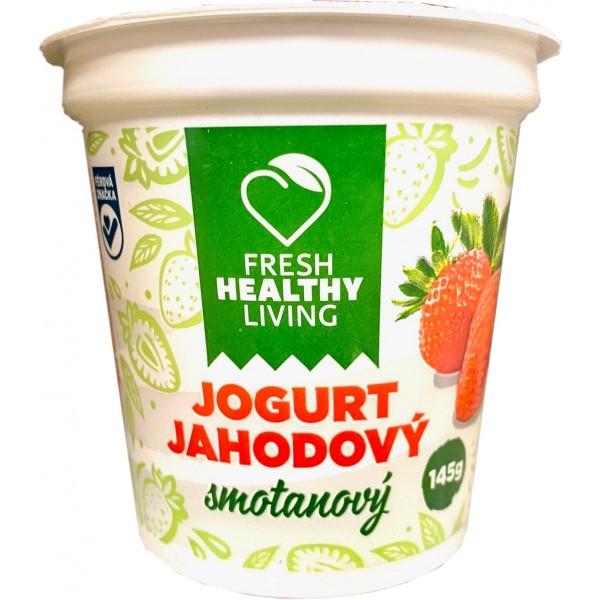Jogurt jahodový smotanový Fresh Healthy Living 145g